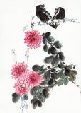 Kwiaty i ptaki ilustracja wektor