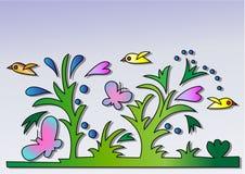Kwiaty i ptaki Fotografia Royalty Free