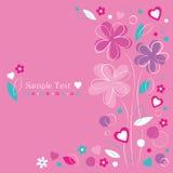 Kwiaty i serca kartka z pozdrowieniami granica Obraz Stock