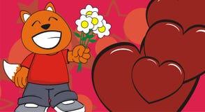 Kwiaty kochają małego pyzatego lisa dzieciaka kreskówki wyrażenia tło Zdjęcie Royalty Free