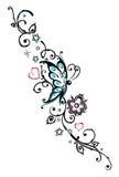 Kwiaty, motyl Zdjęcia Royalty Free