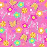 kwiaty motylich powtarzam bezszwowa wzoru Zdjęcia Stock
