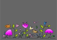 Kwiaty na szarym tle Obrazy Royalty Free