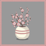 kwiaty obramiają wazę Zdjęcie Stock