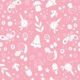 Kwiaty, ptaki, pieczarki, motyle, ślimaczek natury pastelu wzór Zdjęcie Royalty Free