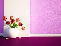Kwiaty są w białej wazie ilustracji