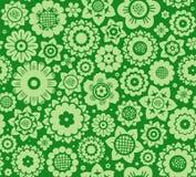 Kwiaty, tło zielony, bezszwowy, wektor Obraz Stock