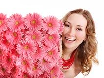 kwiaty target47_1_ kobiety młody Zdjęcia Royalty Free
