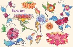 Kwiaty ustawiający z lotuses i peoniami z zastrzeżeniem azjatykci Obrazy Stock