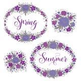 Kwiaty ustawiający piękny kwiecisty ramy ilustracji wektora Kartka Z Pozdrowieniami dekoracja Zdjęcie Stock