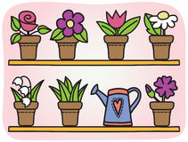 Kwiaty w garnkach ilustracyjnych Fotografia Royalty Free