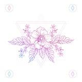 Kwiaty w modnisiów trójbokach, boho koloru kreskowej sztuki tatuaż Obrazy Stock