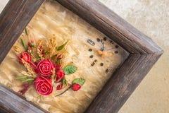 Kwiaty w obrazek ramach Obraz Royalty Free