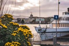 Kwiaty z łodzią w tle Switzerland Geneva obrazy stock
