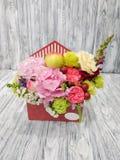 Kwiaty z jabłkami i jagodami w kartonowej kopercie na drewnianym rocznika tle zdjęcia stock