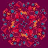 kwiaty zielenieją ilustracyjnego liść mandala wzoru bezszwowych brzmienia Wektorowa ręka rysujący projekta szablon Boho projektuj ilustracji