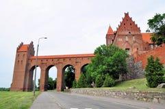 Kwidzyn - den Teutonic slotten. Sanitärt torn. Arkivbilder