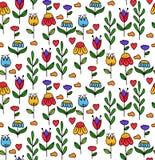 Kwieciści kwiaty chmurnieją dekoracyjnego doodle wektoru bezszwowego wzór Zdjęcie Royalty Free