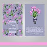 Kwieciści wiosna szablony ręka rysujący różowi tulipany i fiołkowi irysy Elementy dla romantycznego projekta, zawiadomienia, kart ilustracja wektor