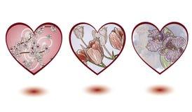 kwieciści dekoracj serca royalty ilustracja