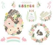 Kwieciści Wielkanocnego jajka elementy Obrazy Stock
