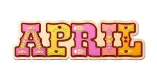 Kwiecień, ilustrujący imię kalendarzowy miesiąc, ilustracja Obraz Royalty Free