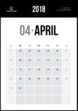 Kwiecień 2018 Minimalistyczny Ścienny kalendarz Zdjęcie Royalty Free