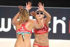 kwiecień plażowa Jennifer kessy graczów Ross salwa Fotografia Royalty Free