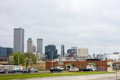 Kwiecień 2015 - pogoda sztormowa nad Tulsa Oklahoma linią horyzontu Zdjęcia Stock