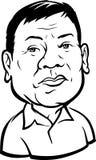 Kwiecień 3,2017: Karykatura 16th prezydent Filipiny, Rodrigo ` Ród ` Roa Duterte Zdjęcie Royalty Free