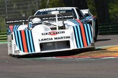 21 2018 Kwiecień: Riccardo Patrese jedzie Lancia Martini LC1 pierwowzór podczas Motorowego legenda festiwalu 2018 Obraz Stock