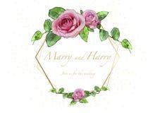 Kwiecista Ślubna zaproszenie karta z akwareli różami ilustracja wektor