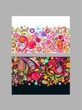 Kwiecista bezszwowa etniczna granicy różnica z kolorowymi abstraktów kwiatami, granatowem i Paisley dla tekstylnego projekta na b ilustracji