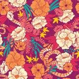 Kwiecista dżungla z węża bezszwowym wzorem, tropikalnymi kwiatami i liśćmi, botaniczna ręka rysujący wibrujący royalty ilustracja