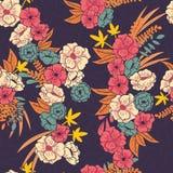 Kwiecista dżungla z węża bezszwowym wzorem, tropikalnymi kwiatami i liśćmi, botaniczna ręka rysujący wibrujący ilustracja wektor