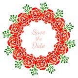 Kwiecista dekoracja z różami Wektorowy akwarela wianek Projekt dla zaproszenia, ślubu lub kartka z pozdrowieniami, Obraz Stock