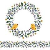 Kwiecista gmatwanina z konturów kwiatami, ptakami i bezszwową granicą na przejrzystym tle, ilustracja wektor