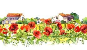 Kwiecista granica z maczkami, wiejscy gospodarstwo rolne domy Akwarela łąkowi kwiaty, trawa, ziele Bezszwowa pasek rama Zdjęcie Royalty Free
