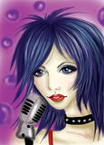 kwiecista grunge mikrofonu ornamentu gwiazda rocka akwarela Fotografia Royalty Free