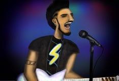 kwiecista grunge mikrofonu ornamentu gwiazda rocka akwarela ilustracji