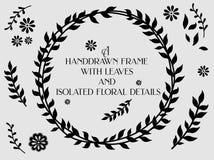 Kwiecista handdrawn rama z liśćmi i odosobnionymi elementami Zdjęcia Royalty Free