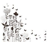 Kwiecista i motyle wektoru sylwetka Obrazy Royalty Free