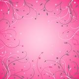Kwiecista karta z cienkimi trzonami na różowym tle ilustracja wektor