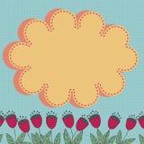 Kwiecista karta z stylizowanymi kwiatami i chmura projektujemy element royalty ilustracja
