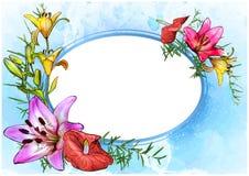 Kwiecista kartka z pozdrowieniami z akwareli tłem ilustracja wektor