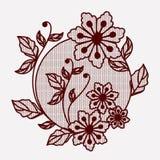 Kwiecista koronkowa ornament kurenda w monochromatycznej sylwetce ilustracji
