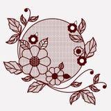 Kwiecista koronkowa ornament kurenda w monochromatycznej sylwetce royalty ilustracja