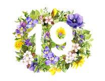 Kwiecista liczba 19 dziewiętnaście od lato kwiatów akwarela ilustracji
