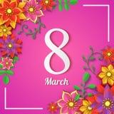 Kwiecista 8 marszu kartka z pozdrowieniami Szczęśliwy kobiety ` s dzień Papieru kwiatu wakacje rżnięta rama na różowym tle z z po royalty ilustracja