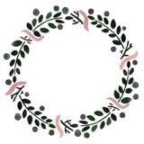 Kwiecista rama: wianek z jagodami i kwiatami Obraz Stock